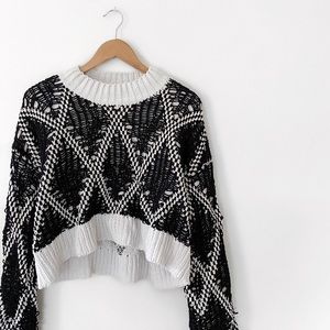 rehab • black/white knit semi-cropped sweater